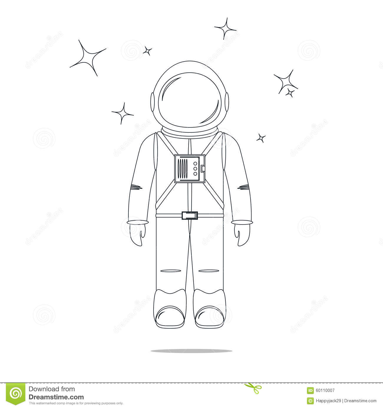Astronaut Line Design Royalty Free Cartoon