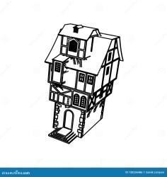 Line Art Design Of Medieval House High Stock Illustration Illustration of home design: 130336486