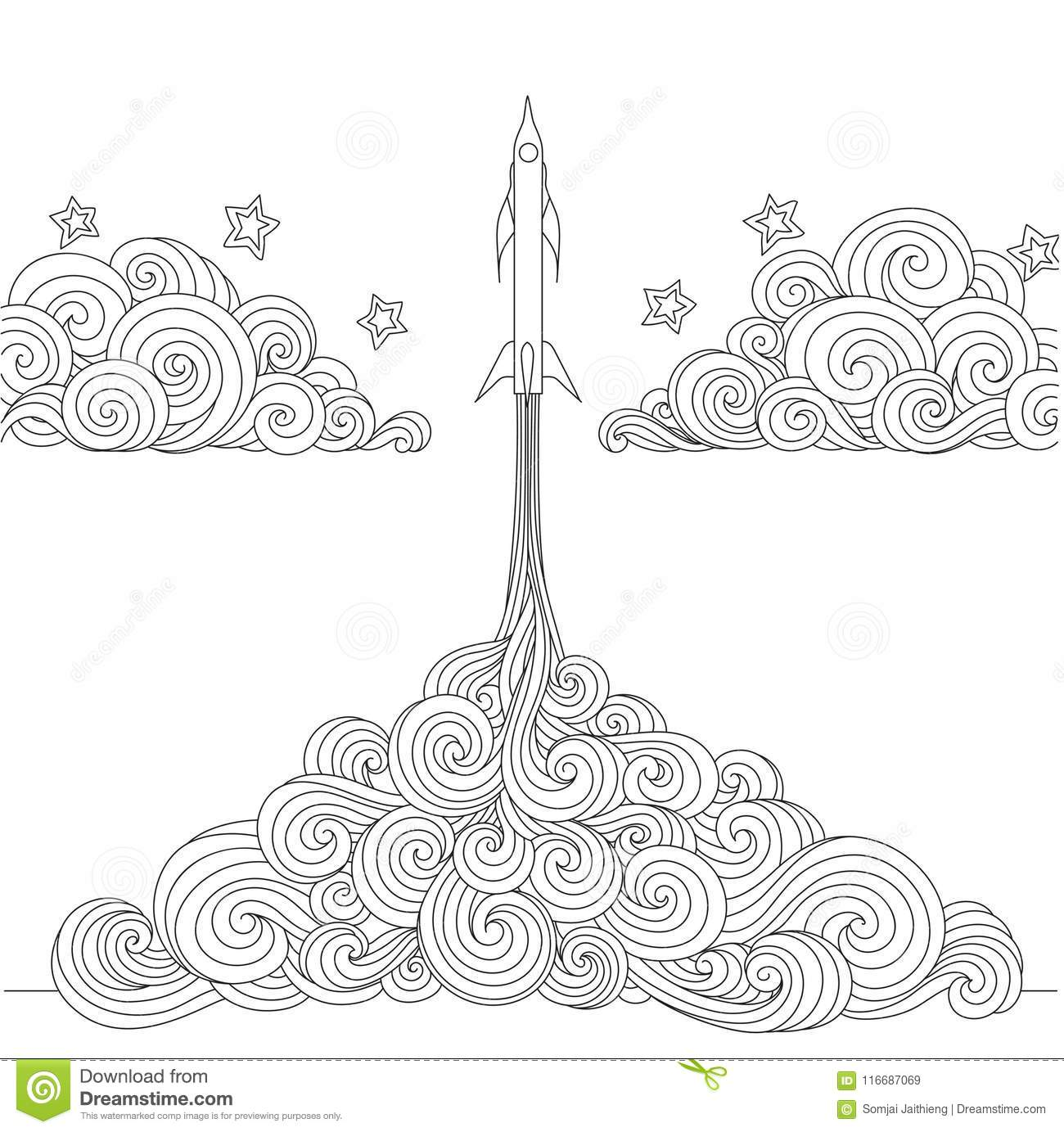 Line Art Design Of A Rocket Launching For Design Element