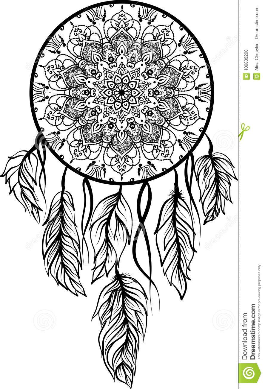 Line Art of a dreamcatcher stock vector. Illustration of