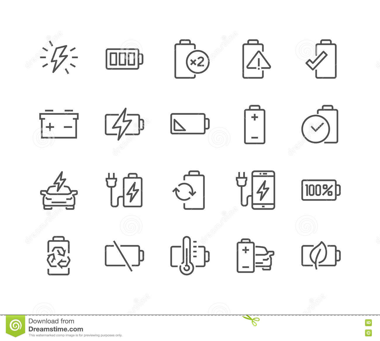 Low Battery Line Icon Vector Illustration