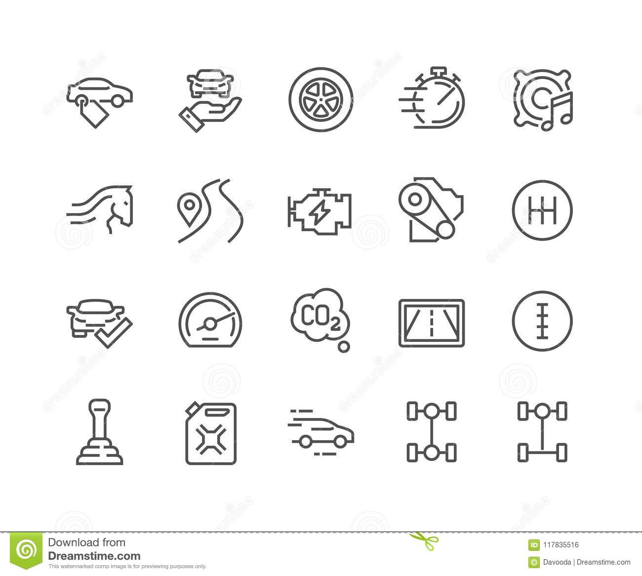 Line Car Features Icons Stock Vector Illustration Of