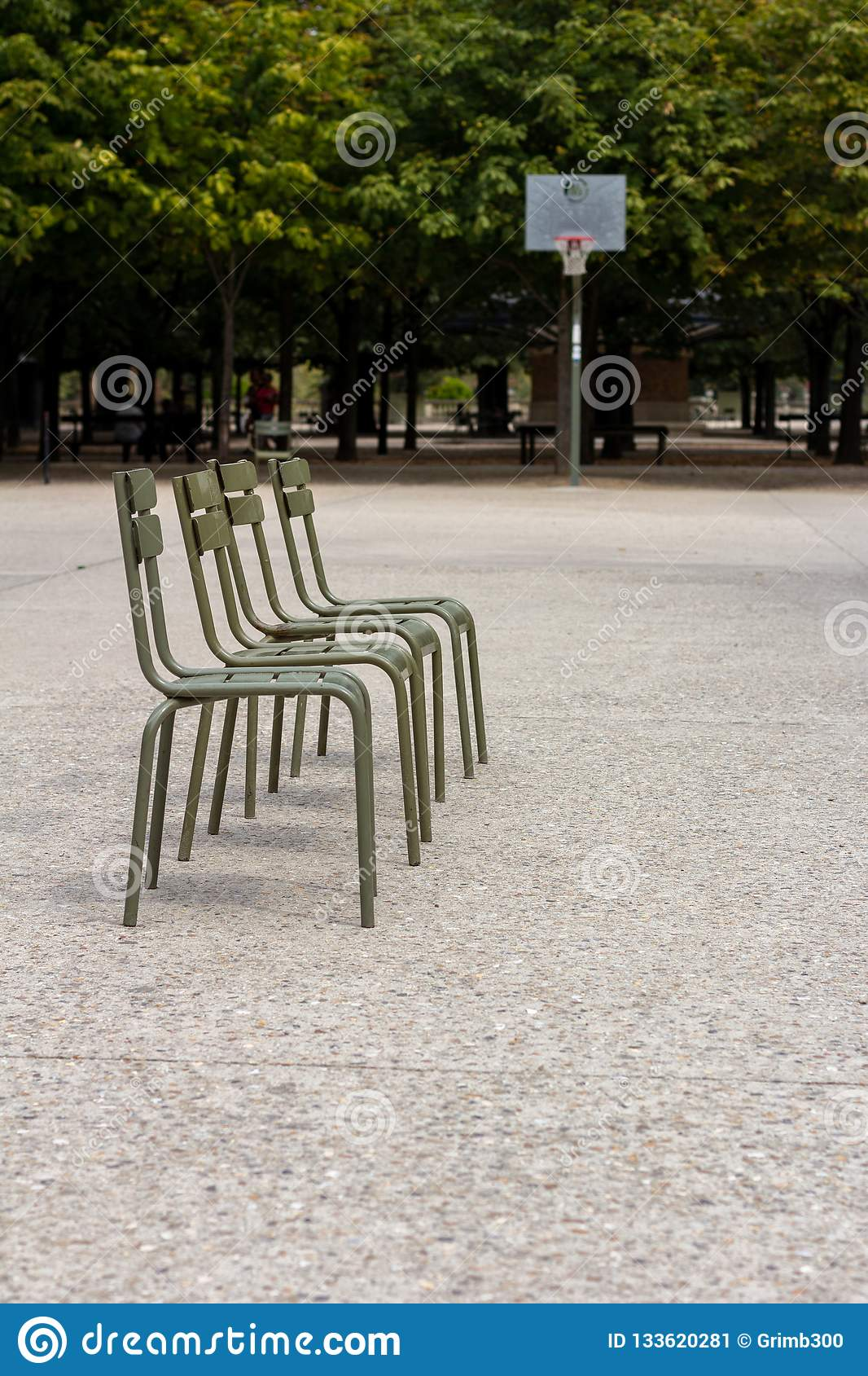 Basketball Chairs Line Of Chairs In Front Of Basketball Goal Stock Image Image Of