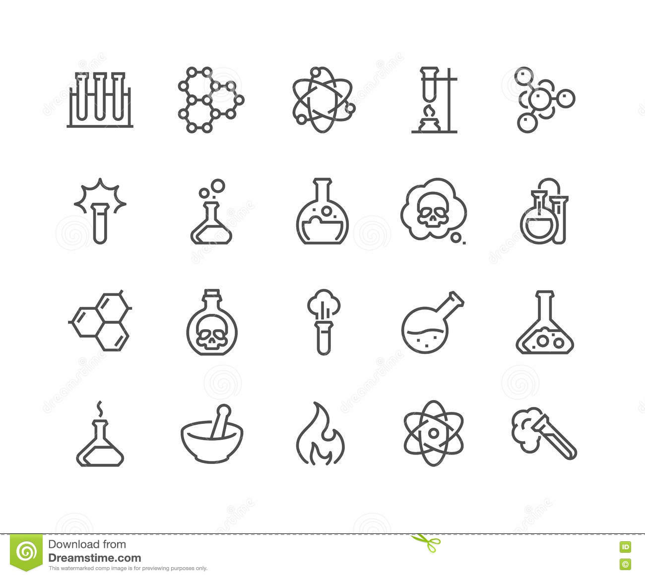 Line Chemical Icons Stock Vector