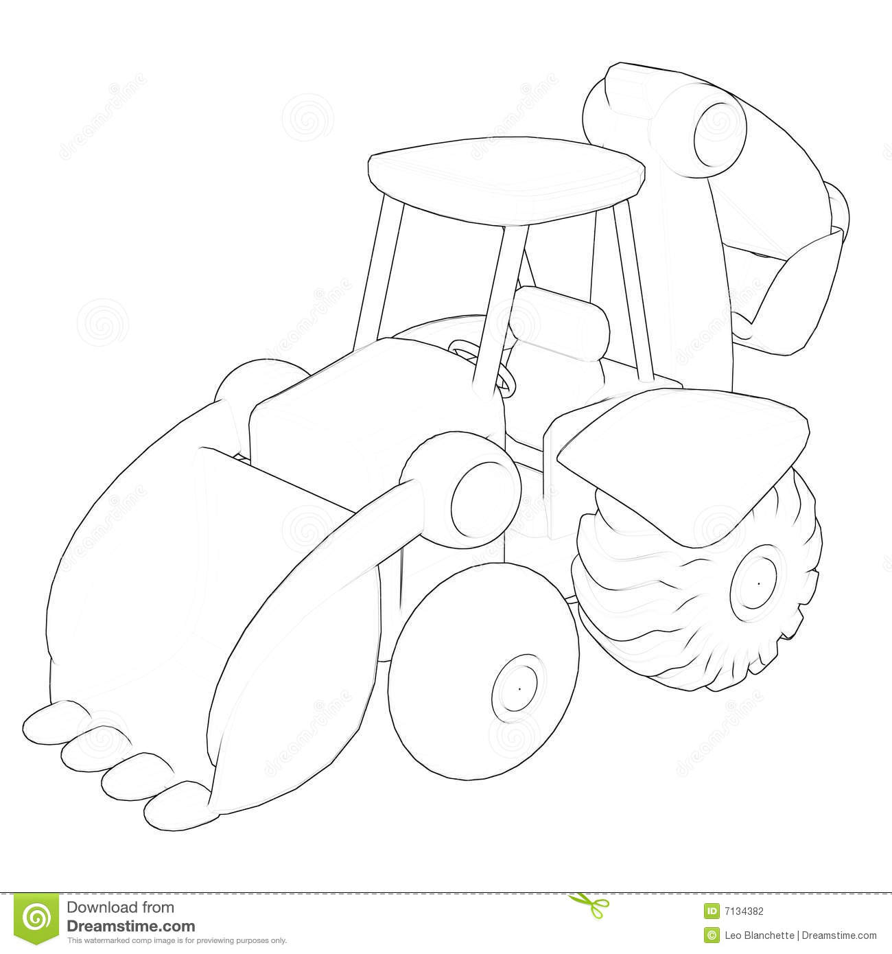 Drawing Excavator Royalty Free Stock Photography