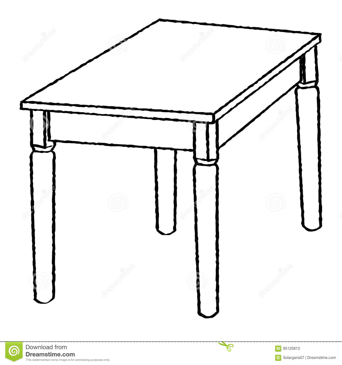 Line Drawing Of Table Simple Line Vector Stock Vector
