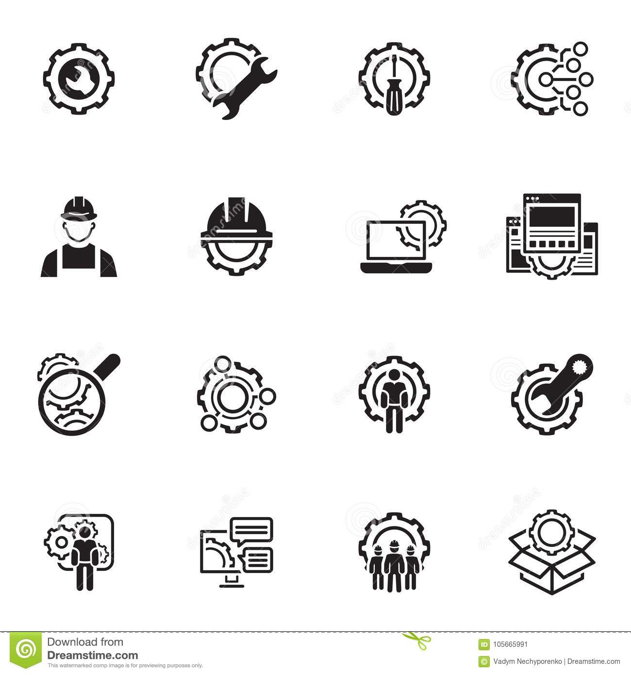 Line Engineering Icons stock vector. Illustration of