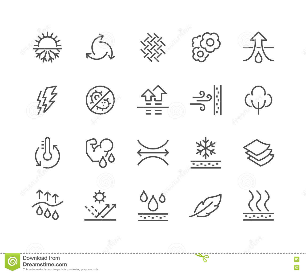 Line Fabric Feature Icons Stock Vector Illustration Of Cotton
