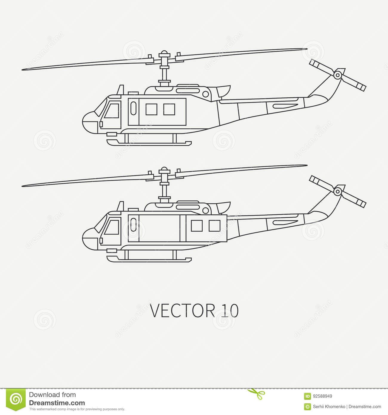 hight resolution of line flat vector icon set military turboprop transportation helicopter army equipment and armament retro