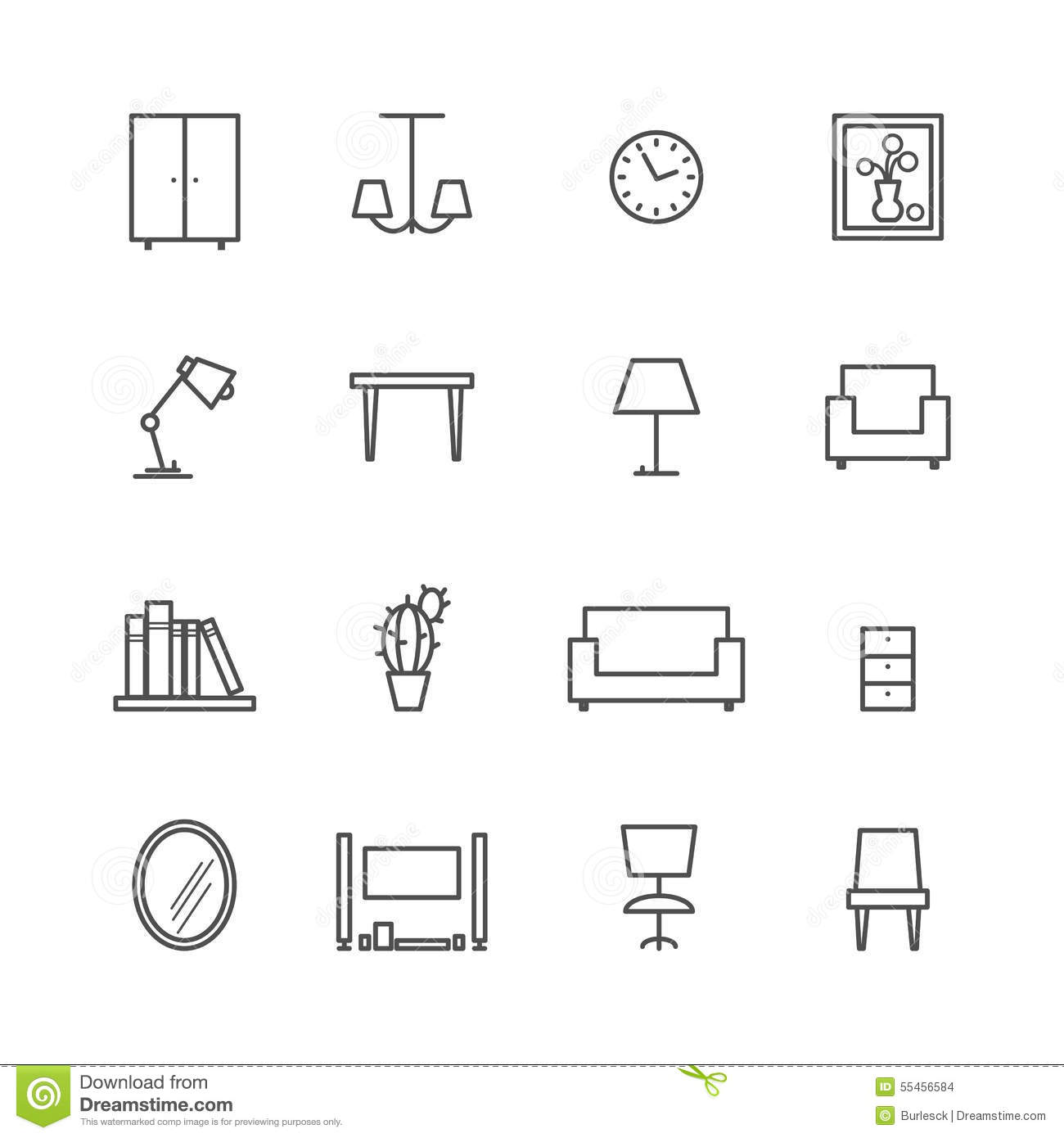 Line Furniture Icons Stock Vector