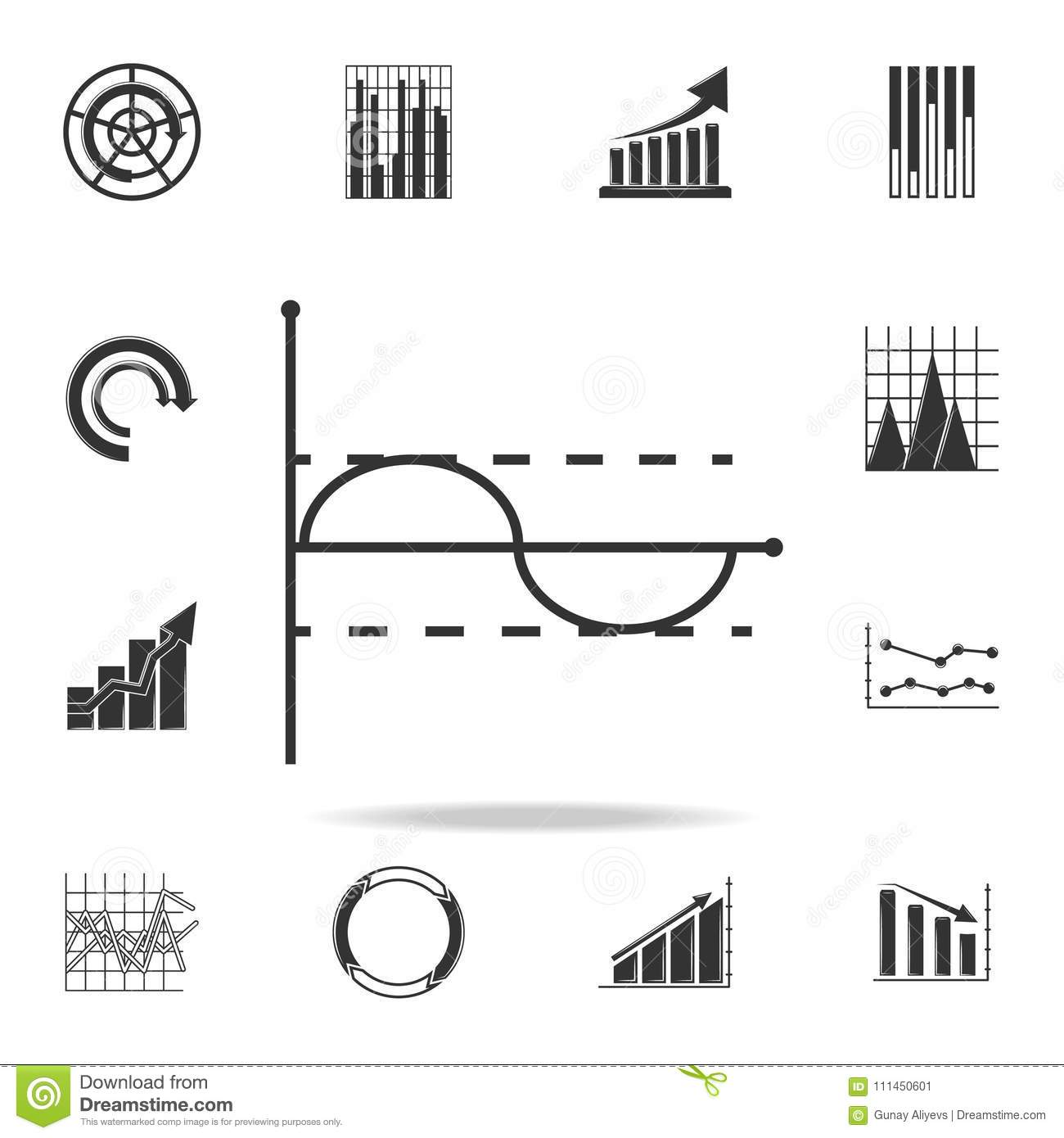 Line Graph Type Chart Icon. Detailed Set Of Trend Diagram