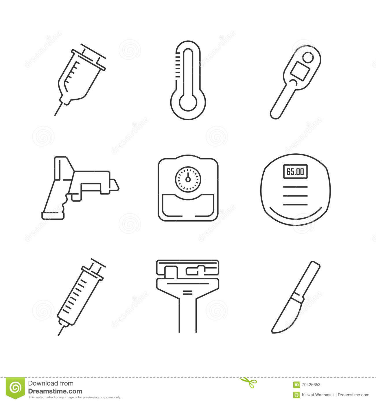 Line Icons Set Of Medical Device Icon Stock Vector