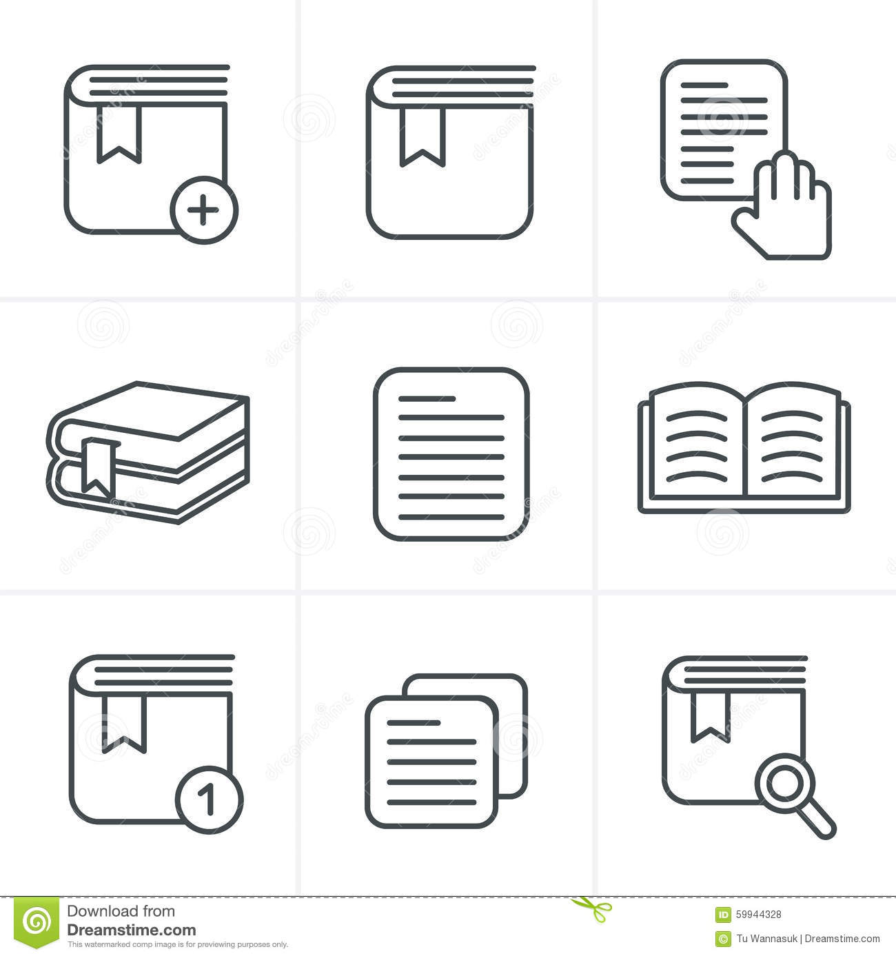 Line Icons Style Book Icons Set Stock Vector