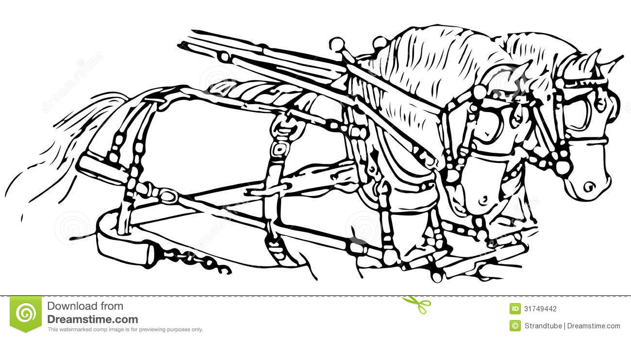 Stock Photography: Line Illustration Of Horses Pulling A