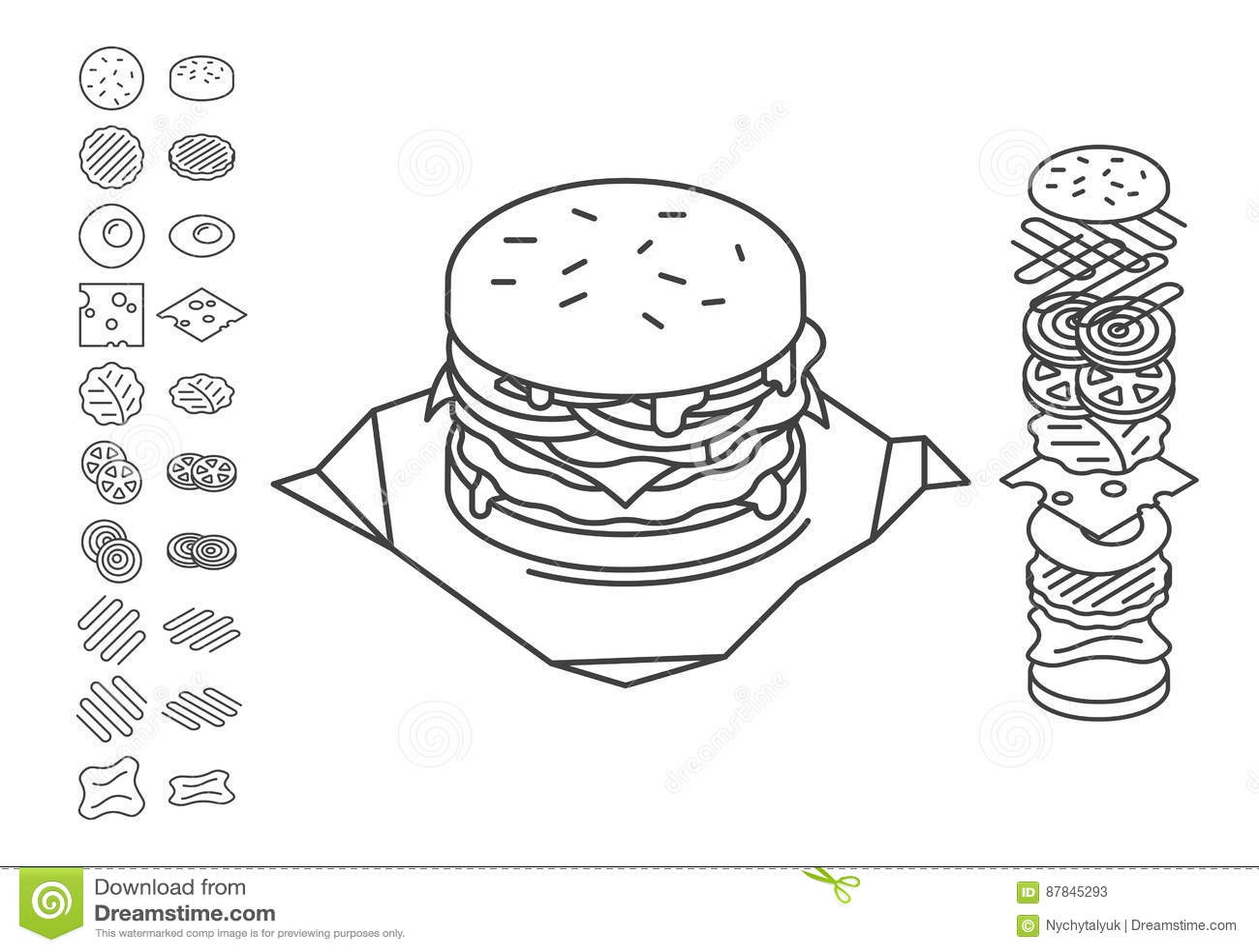 Line Style Sandwich Spread Out On Ingredients. Cartoon