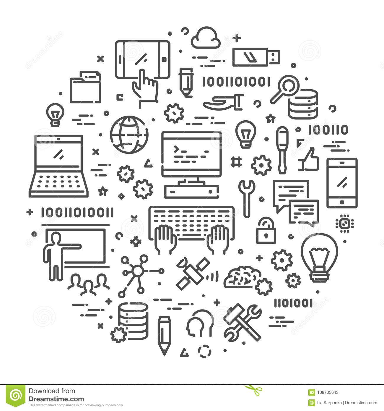 Line Web Concept For Computer Science Stock Illustration