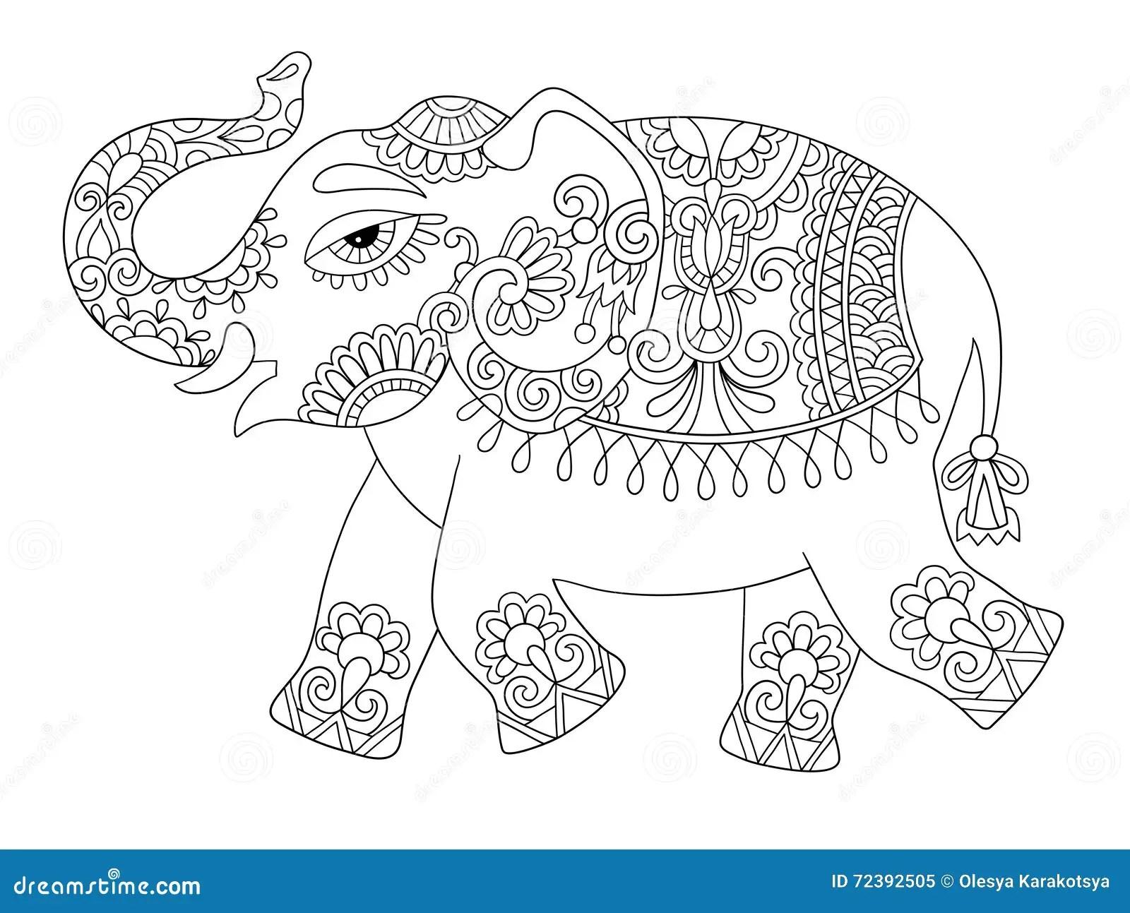 Linea Etnica Disegno Originale, Adulti Dell'elefante
