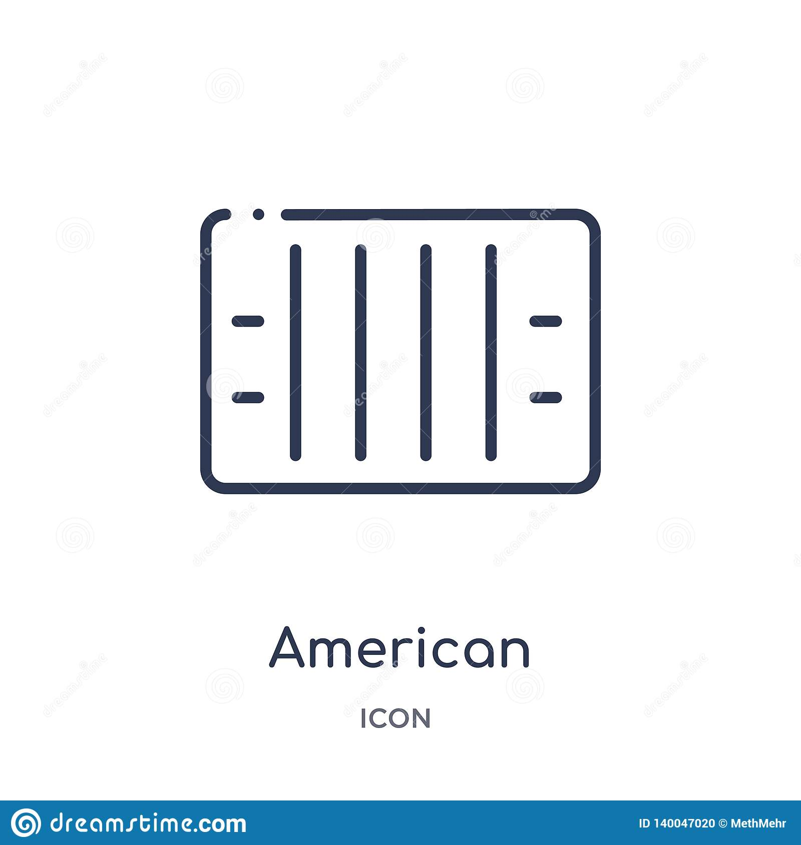 American football is modified rugby; Linear American Football Field Top View Icon From American Football Outline Collection Thin Line American Football Field Top View Stock Vector Illustration Of Player Yard 140047020