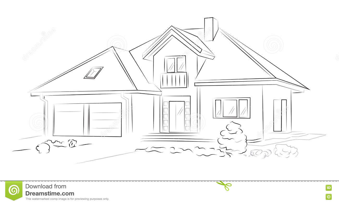 Linear Architectural Sketch Detached House Stock Vector