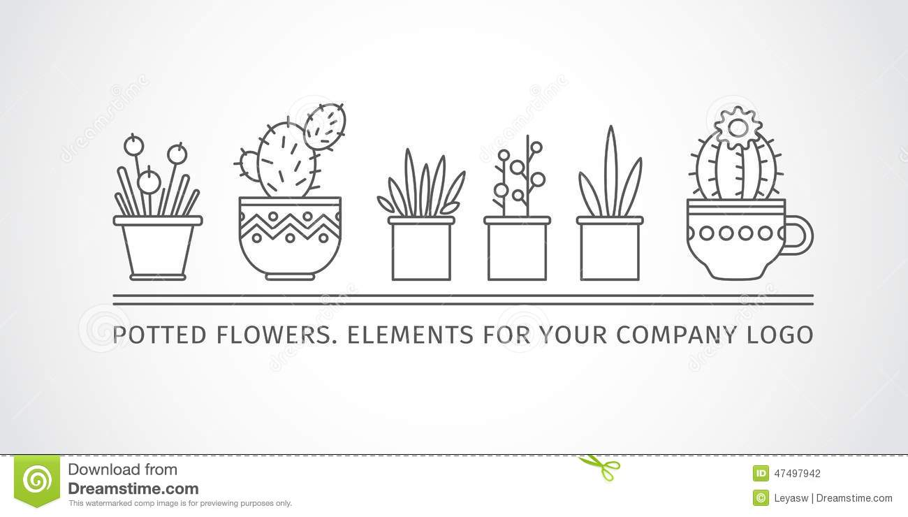 linear design potted flowers