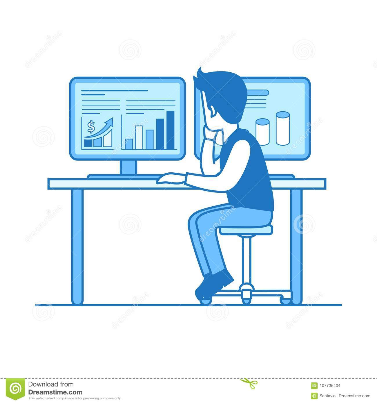 hight resolution of linear flat line art style business workplace office interior concept businessman rear back view table working computer graph chart diagram on pc screen
