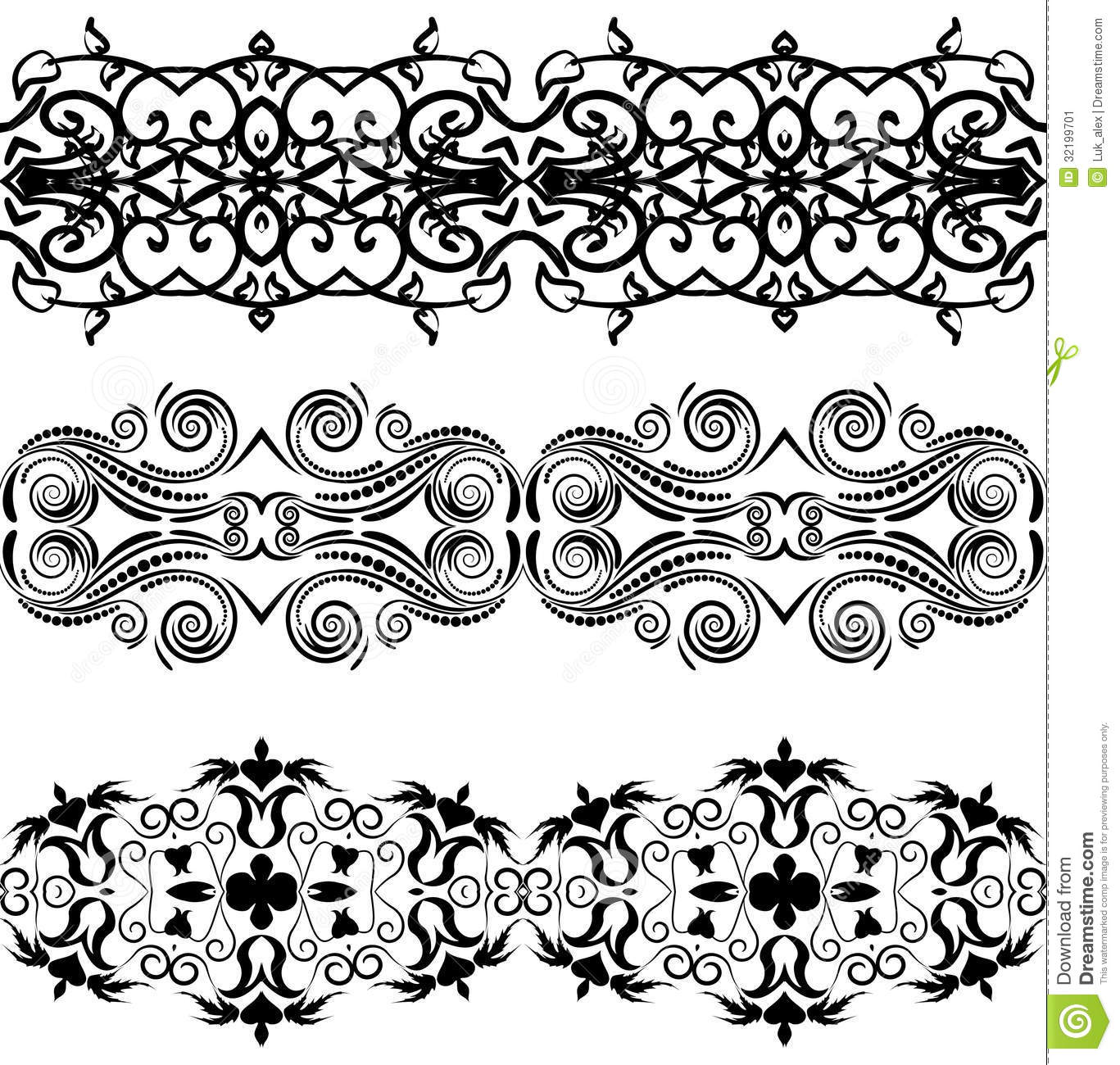 Linear Floral Ornament Stock Vector Illustration Of