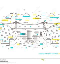 linear hydro electric station hydroelectric power plant vector illustration [ 1300 x 1065 Pixel ]