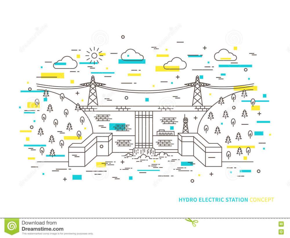 medium resolution of linear hydro electric station hydroelectric power plant vector illustration