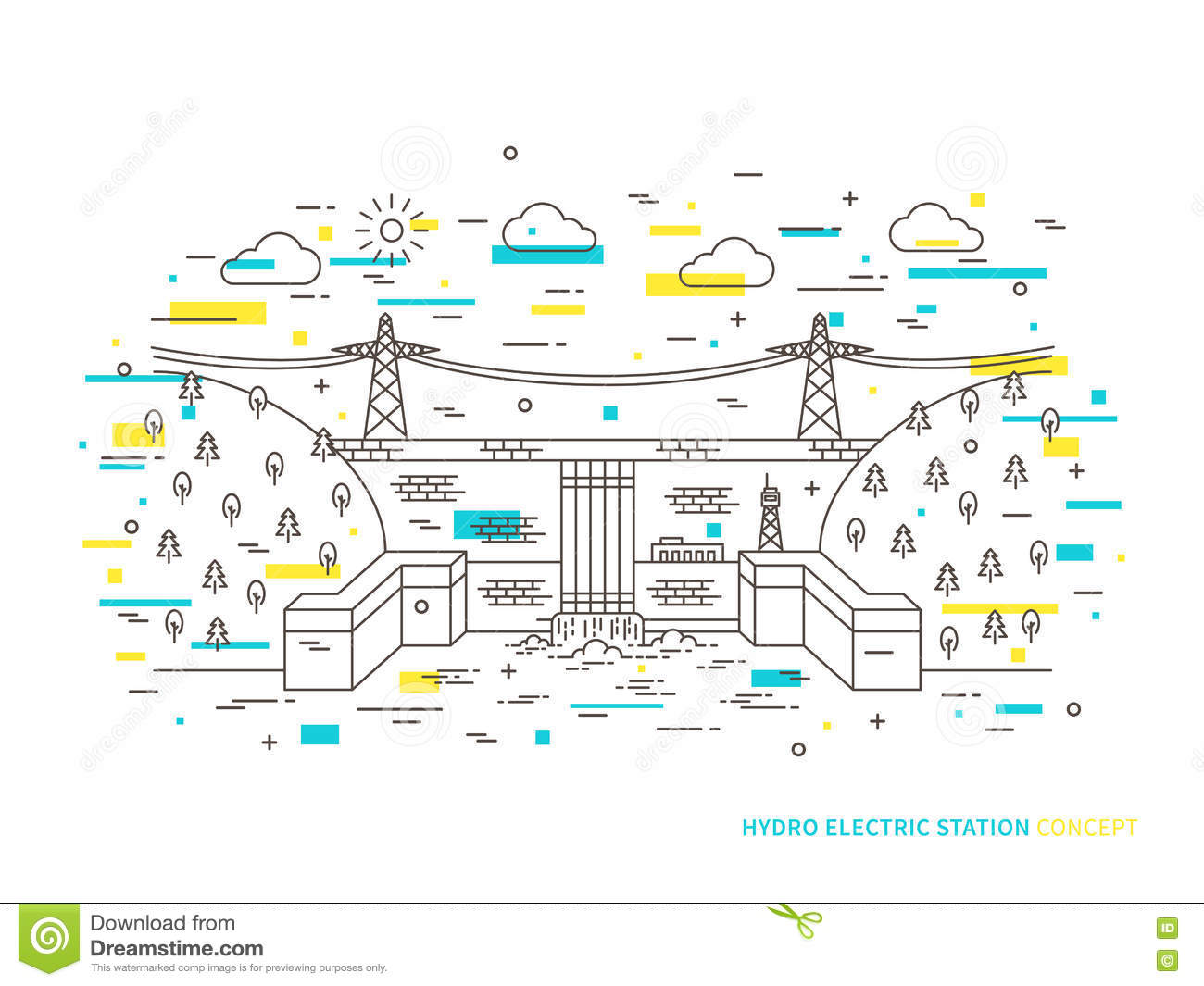 hight resolution of linear hydro electric station hydroelectric power plant vector illustration