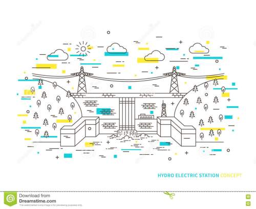 small resolution of linear hydro electric station hydroelectric power plant vector illustration