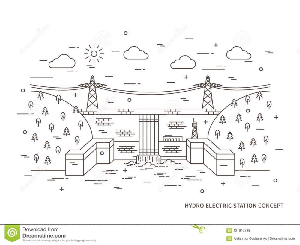 medium resolution of linear hydro electric station hydroelectric power plant vector illustration hydro power engineering waterpower plant hydroelectric plant