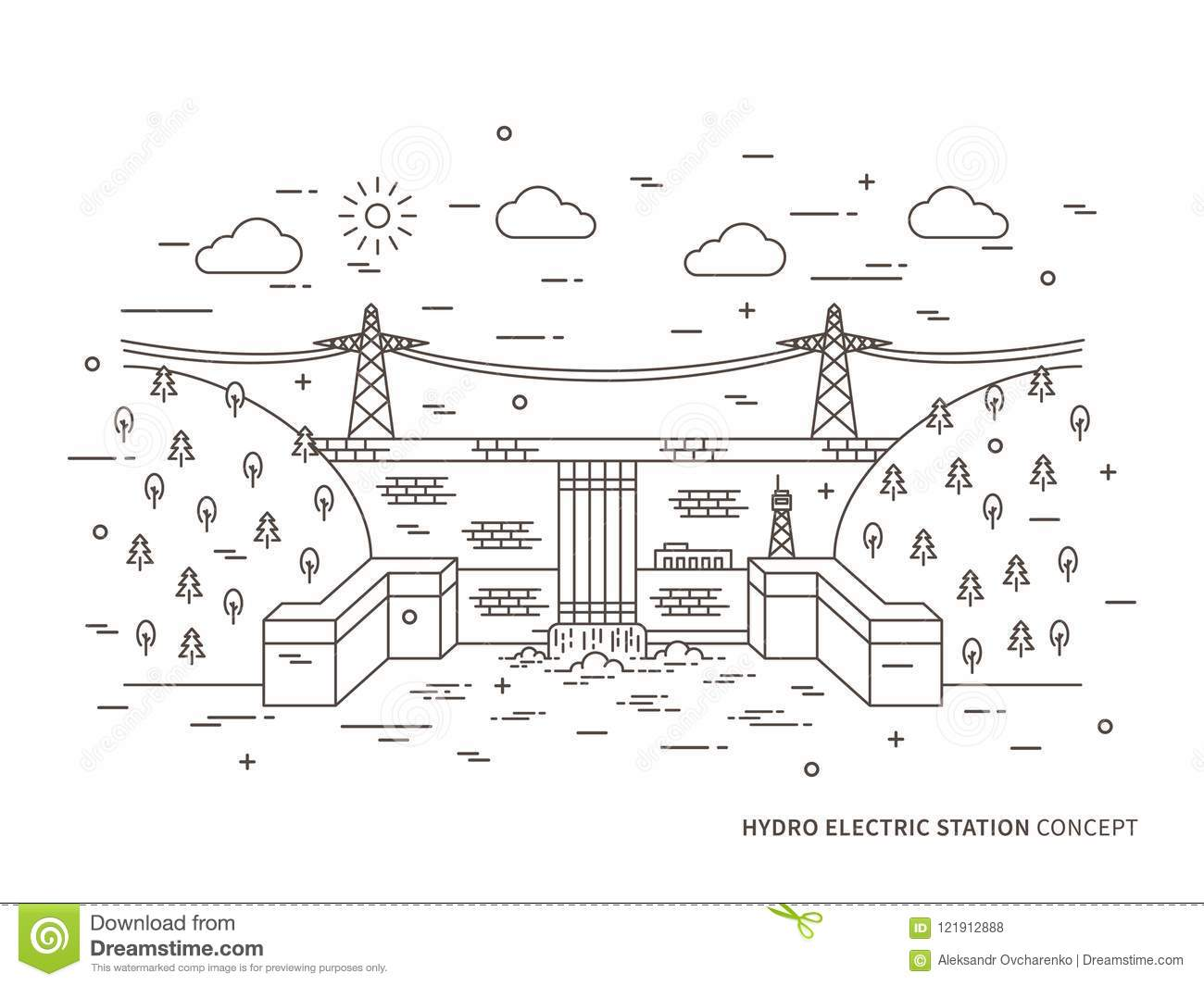 hight resolution of linear hydro electric station hydroelectric power plant vector illustration hydro power engineering waterpower plant hydroelectric plant