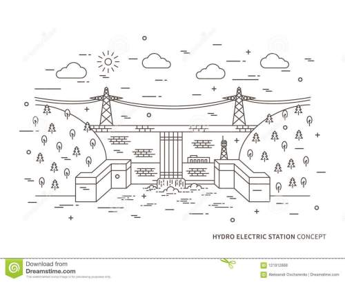 small resolution of linear hydro electric station hydroelectric power plant vector illustration hydro power engineering waterpower plant hydroelectric plant