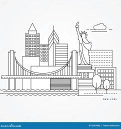 linear illustration of new york us flat one line style greatest landmark statue [ 1300 x 1387 Pixel ]