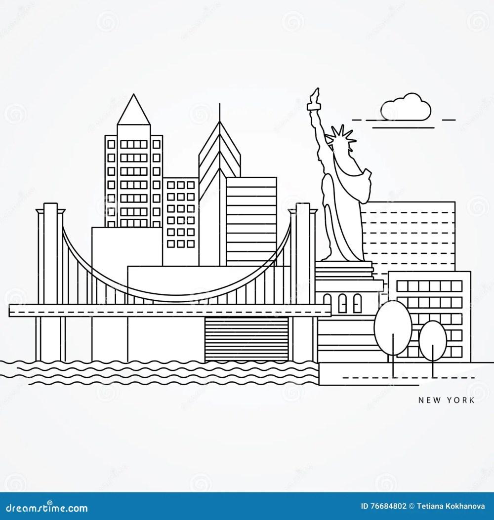 medium resolution of linear illustration of new york us flat one line style greatest landmark statue