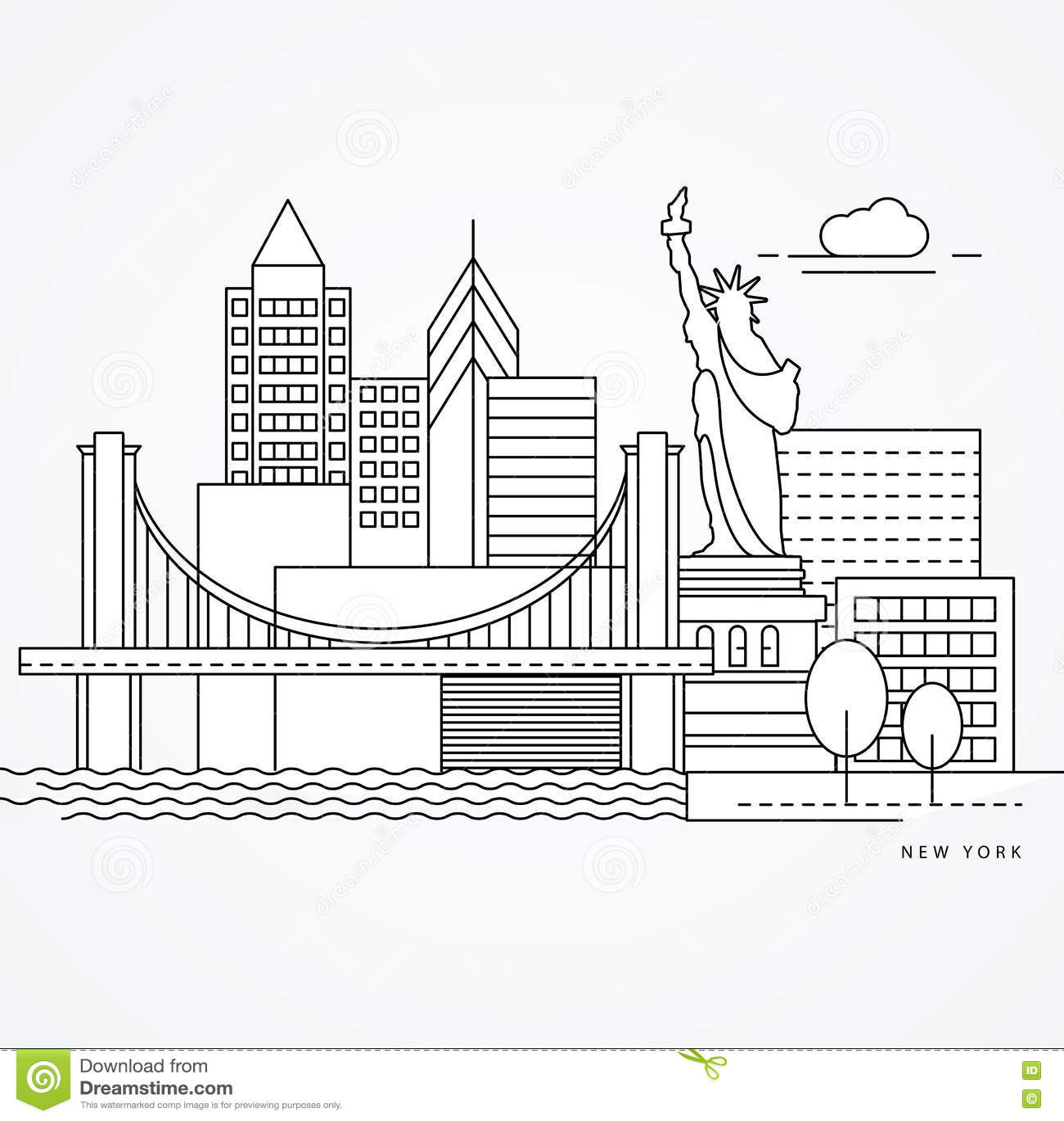 hight resolution of linear illustration of new york us flat one line style greatest landmark statue