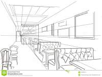 Linear Interior Sketch Cafe Stock Vector - Image: 54430474