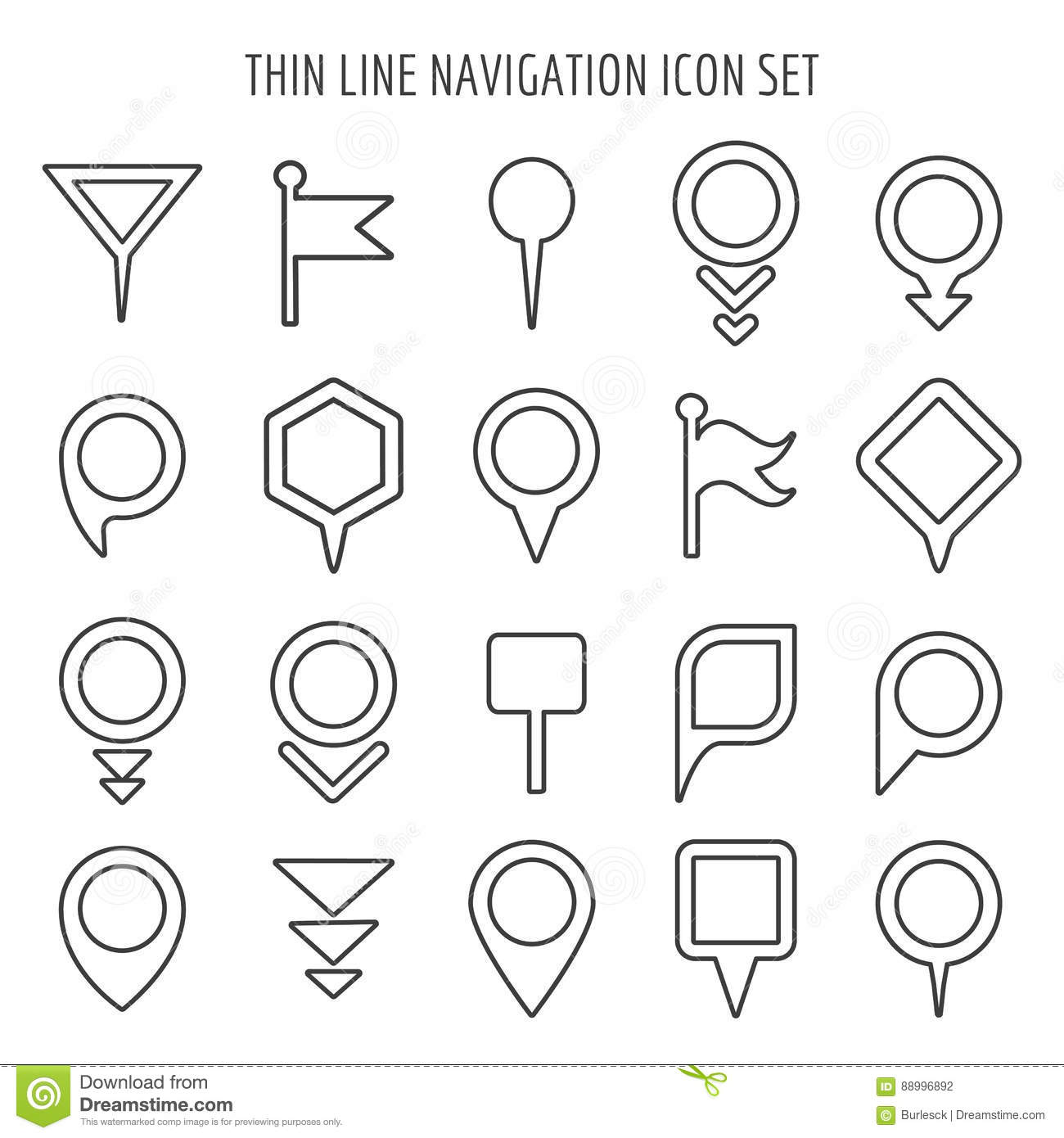 Linear Map Pin Mini Icons Flags And Pins Signs Arrows