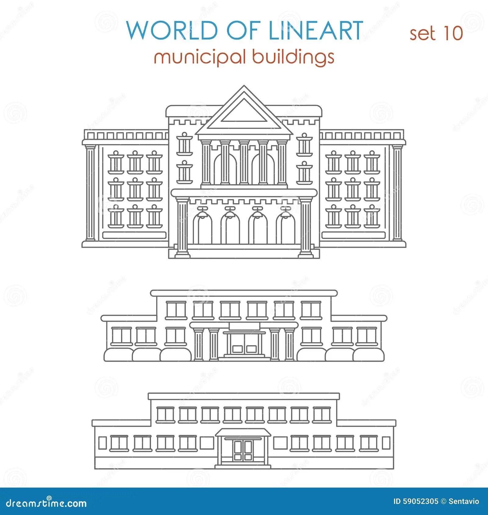 School Building Icon, Outline Style Cartoon Vector