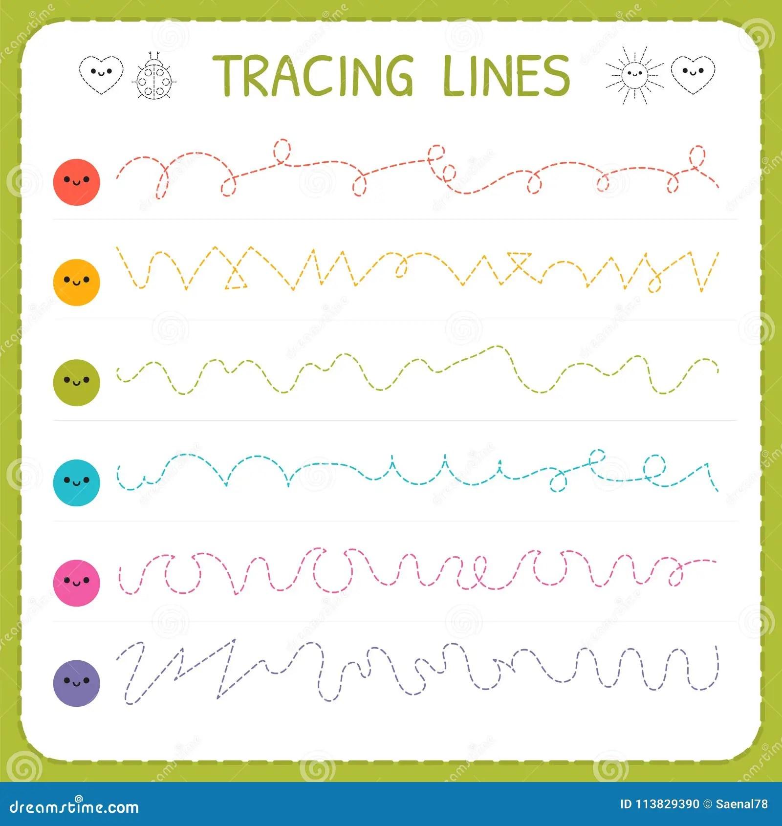 Linhas De Tracado Escrita Basica Folha Para Criancas Paginas De Trabalho Para Criancas Siga O