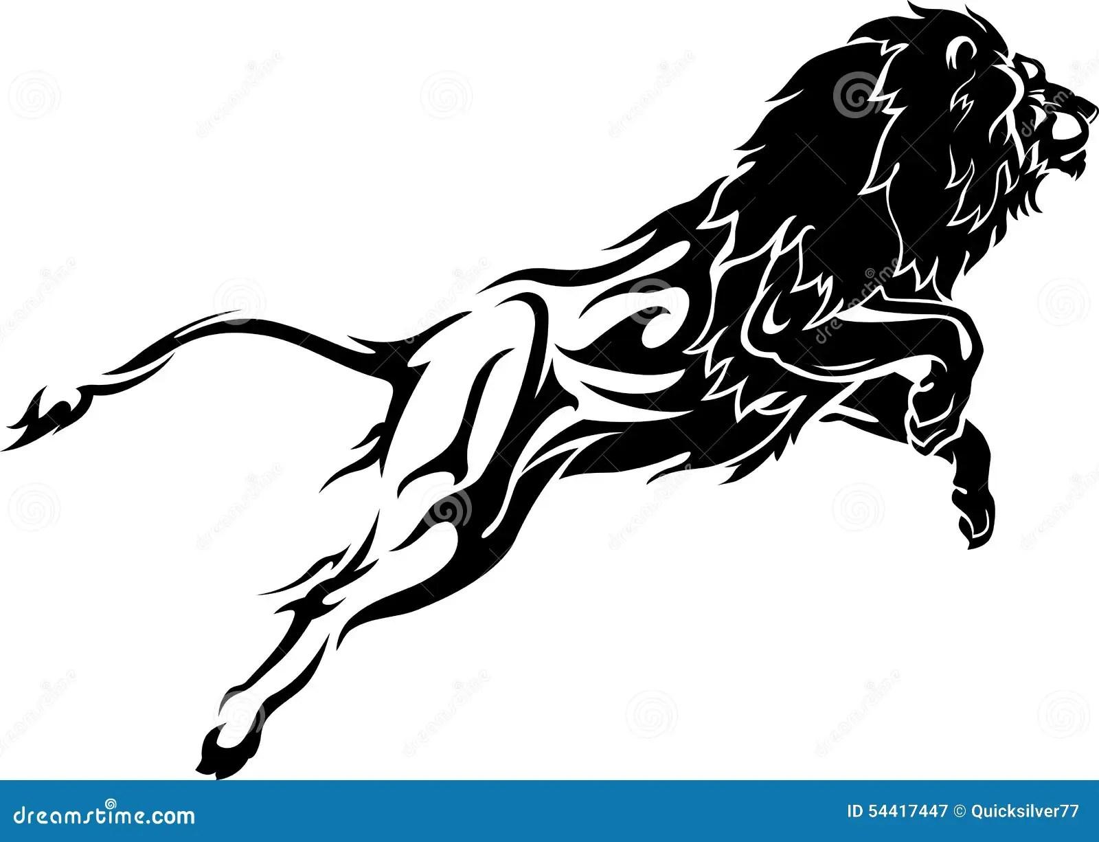 Lion Abstrait De Saut Avec Le Corps De Trainee De Flamme