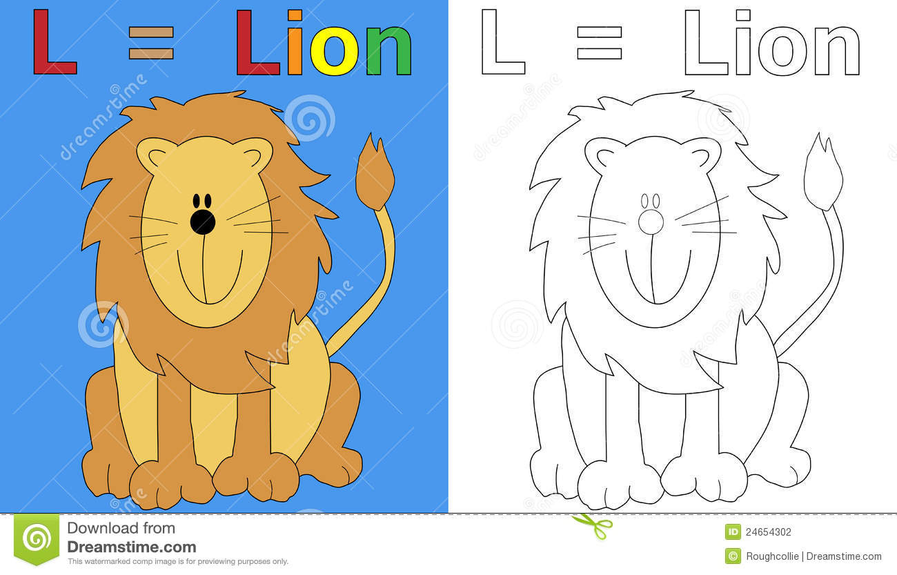 Lion Coloring Book Page Stock Photography
