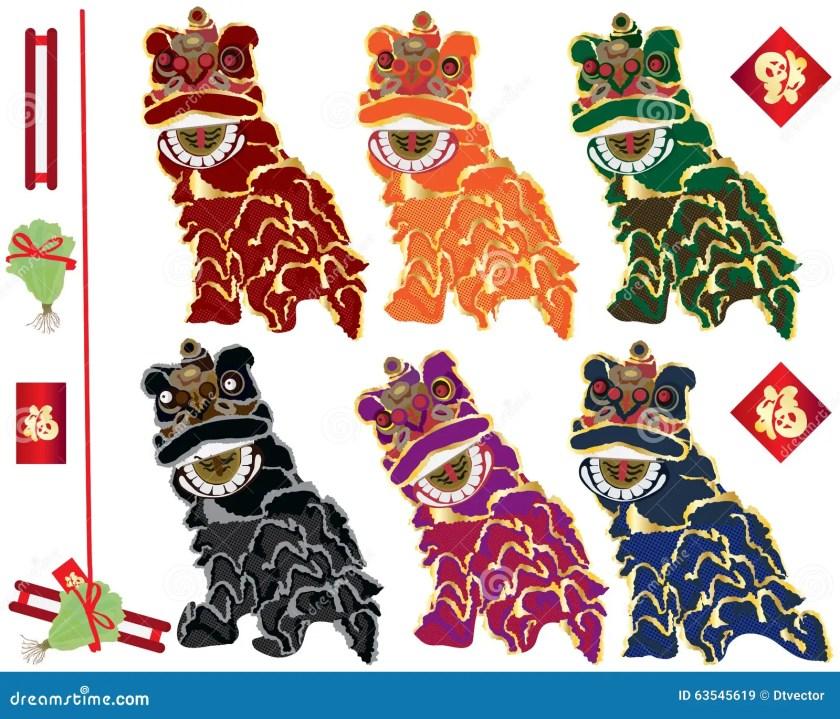 lion dance families set stock vector  image 6619