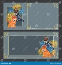 Lion Dance Horizontal Card Stock Vector - 63739717