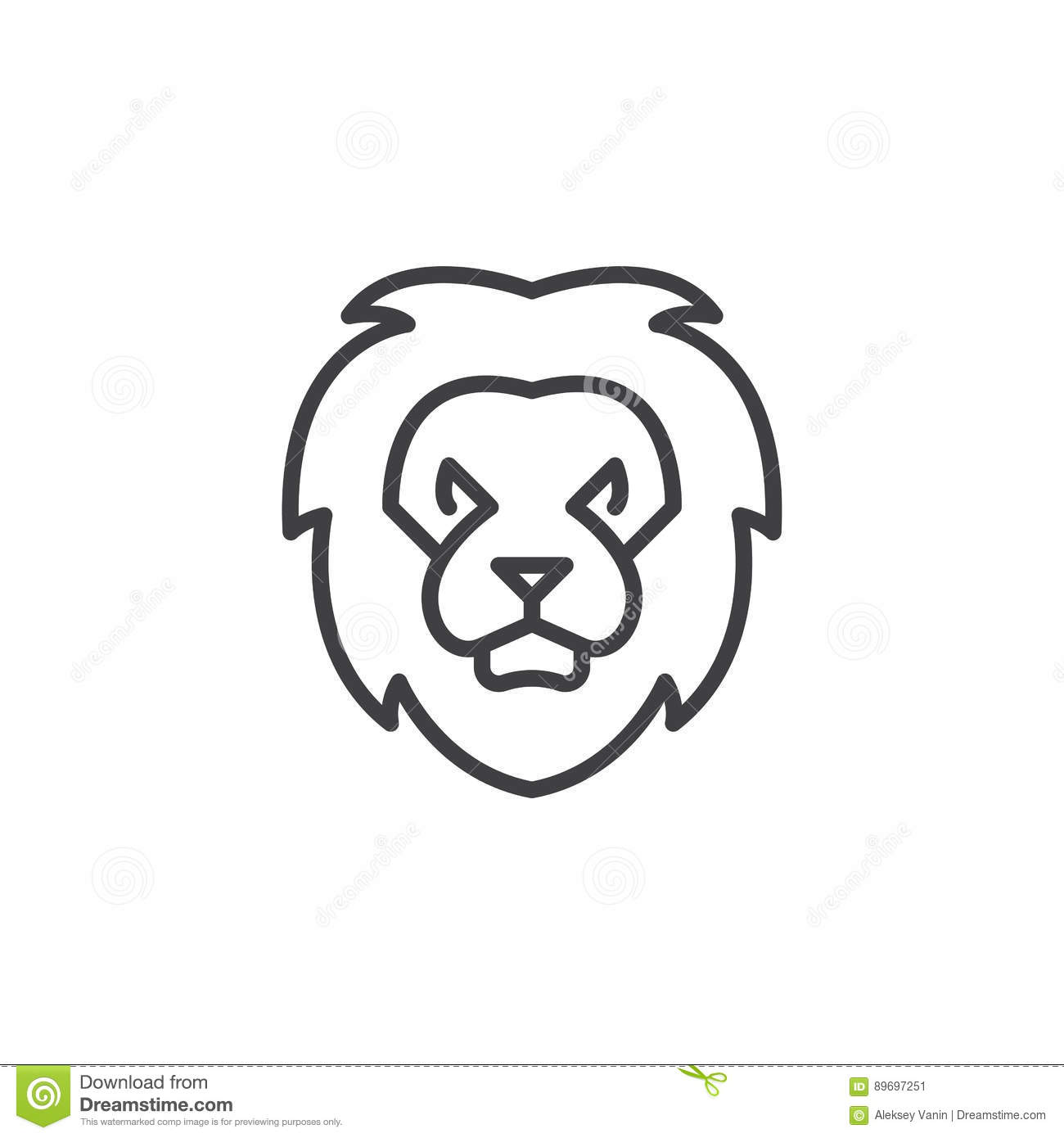 Lion Head Line Icon Outline Vector Sign Stock Vector