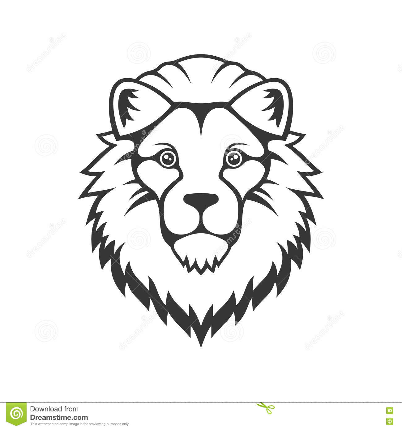Lion Head Logo On White Background Vector Stock Vector