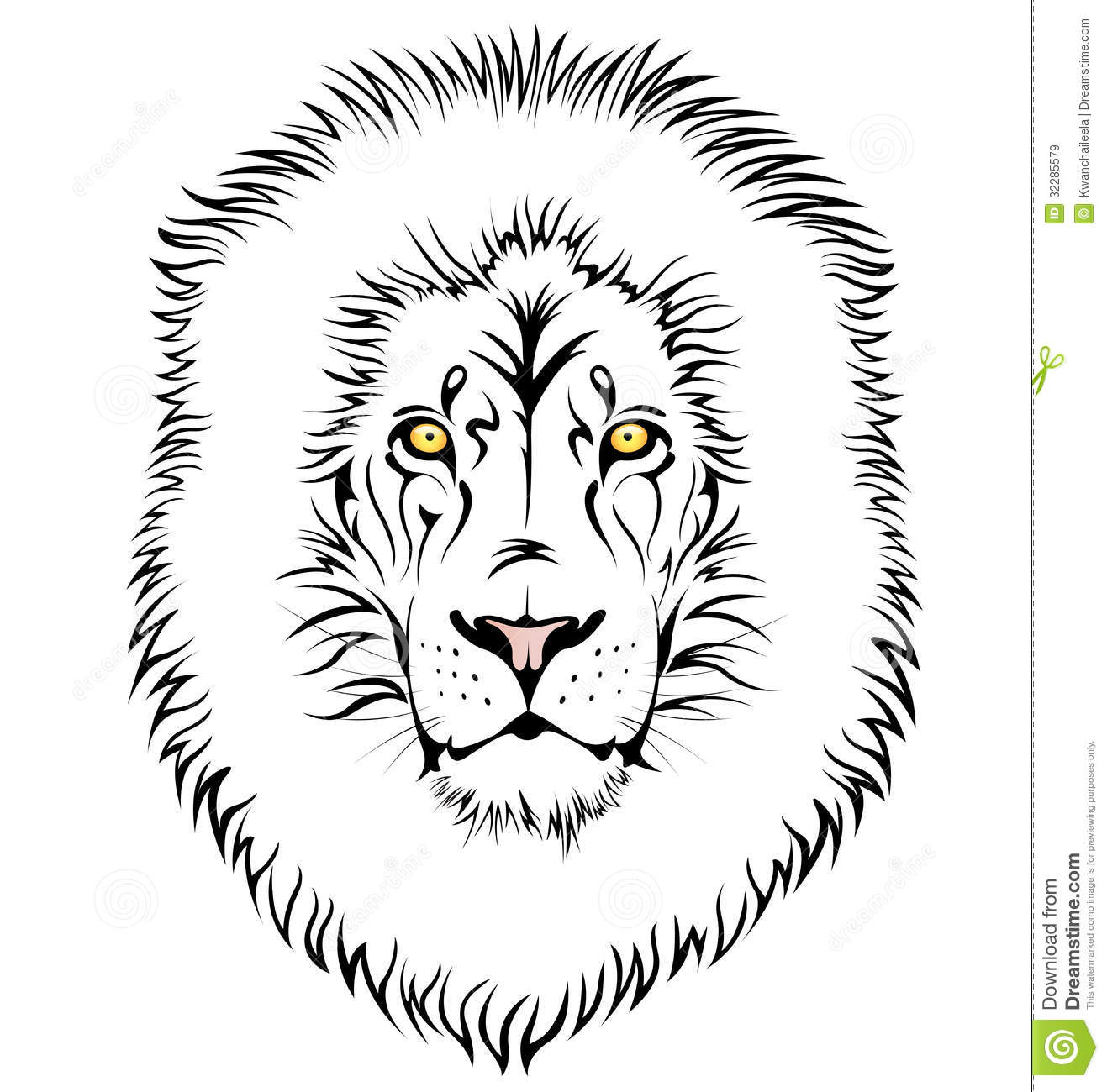 A Lion Head Stock Vector Illustration Of Head Black