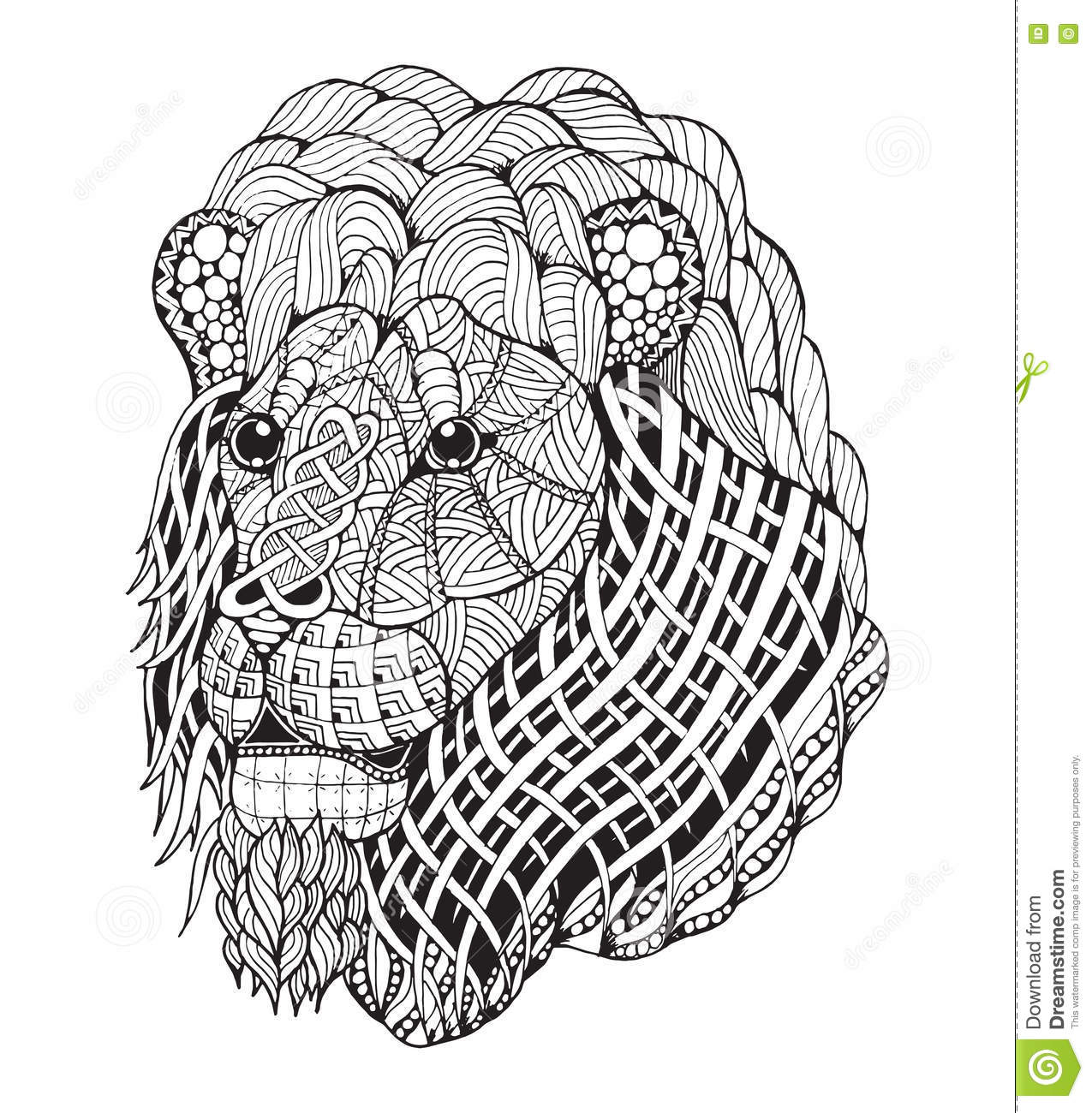 Lion Head Zentangle Stylized, Vector, Illustration