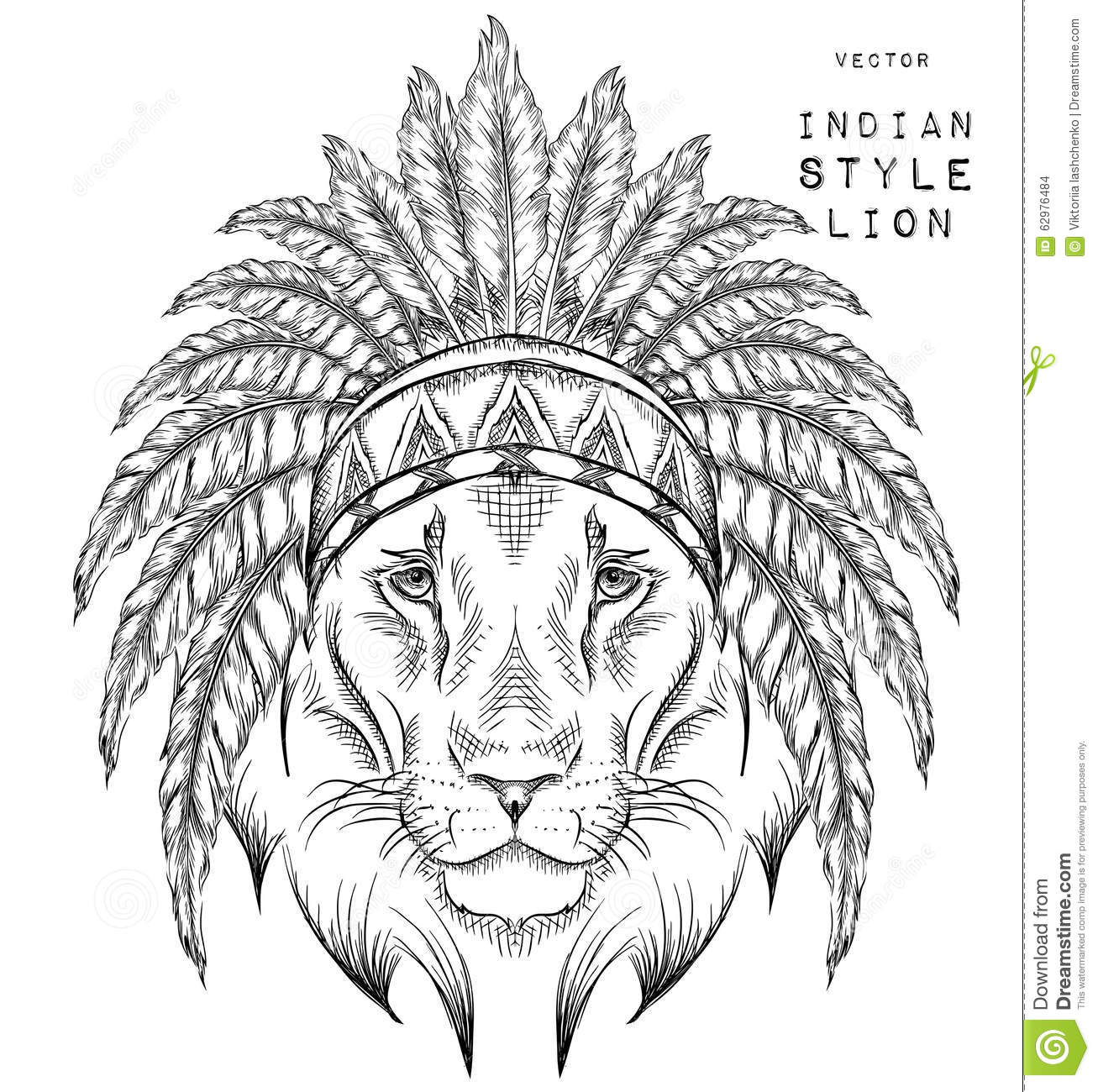 Lion In The Indian Roach Indian Feather Headdress Of