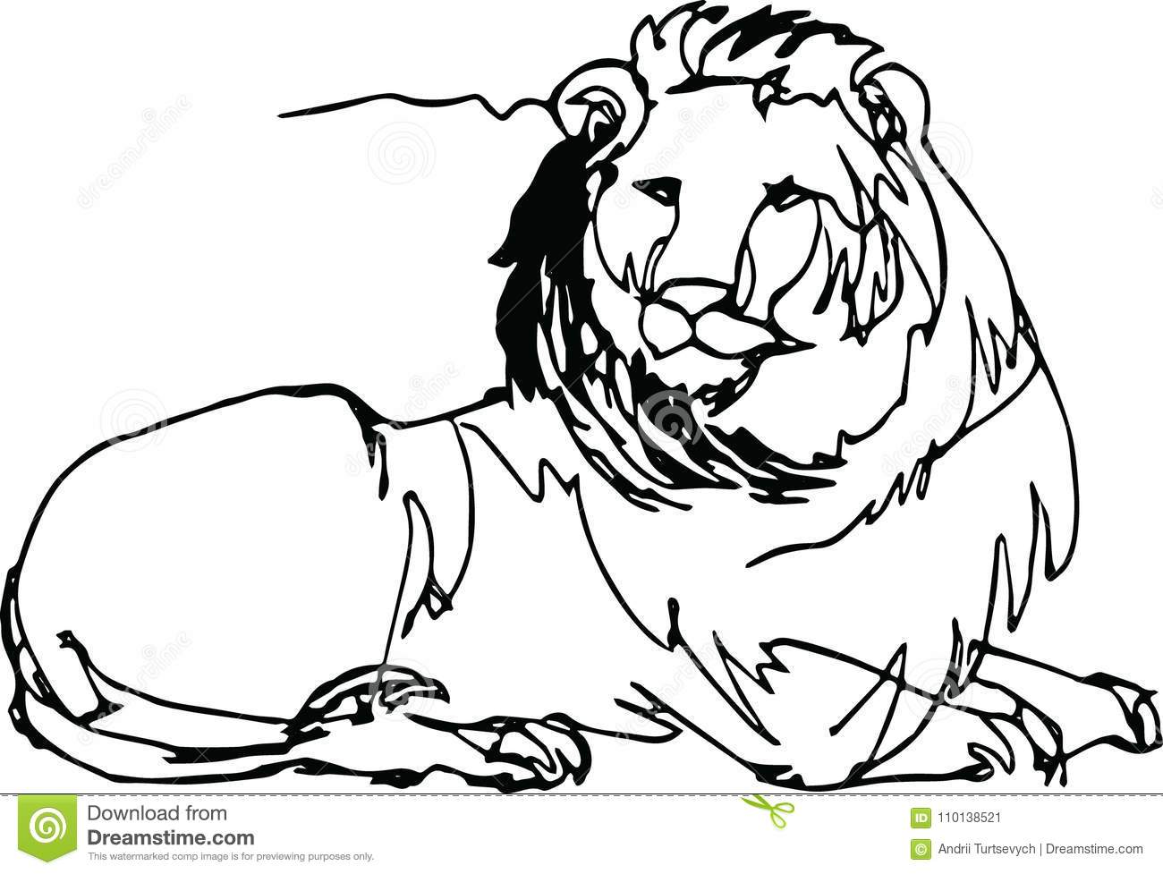 Lion Lying. Africa, Continuous Line. Stock Vector